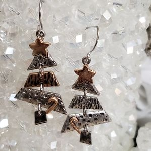 Moveable Christmas Tree Dangle Earrings